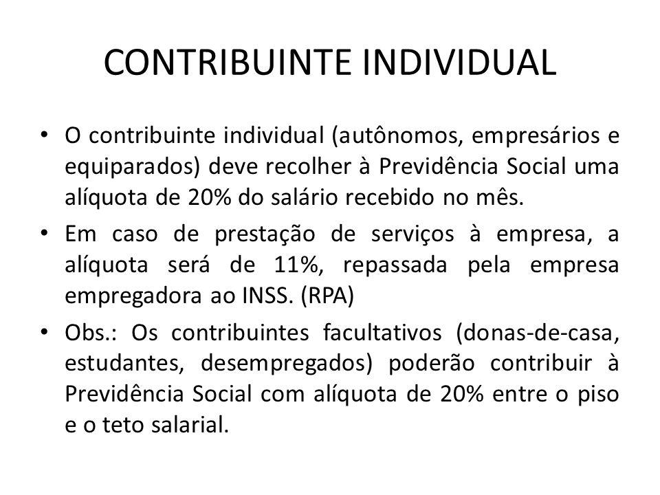 CONTRIBUINTE INDIVIDUAL O contribuinte individual (autônomos, empresários e equiparados) deve recolher à Previdência Social uma alíquota de 20% do sal