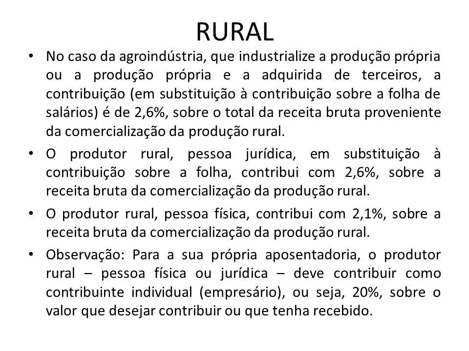 RURAL No caso da agroindústria, que industrialize a produção própria ou a produção própria e a adquirida de terceiros, a contribuição (em substituição