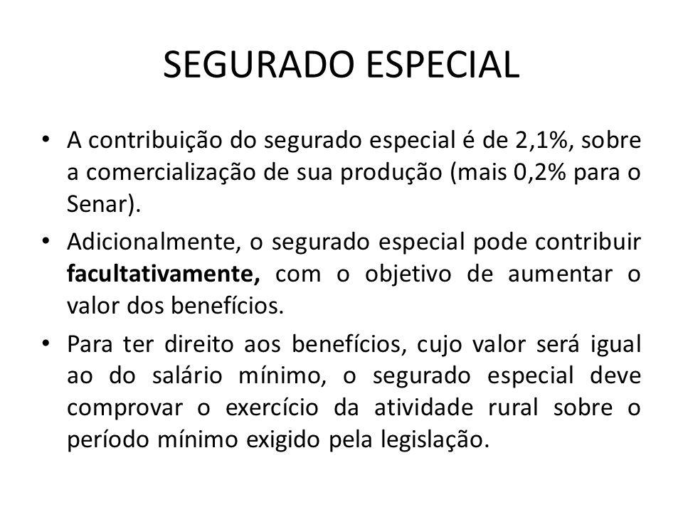 SEGURADO ESPECIAL A contribuição do segurado especial é de 2,1%, sobre a comercialização de sua produção (mais 0,2% para o Senar). Adicionalmente, o s