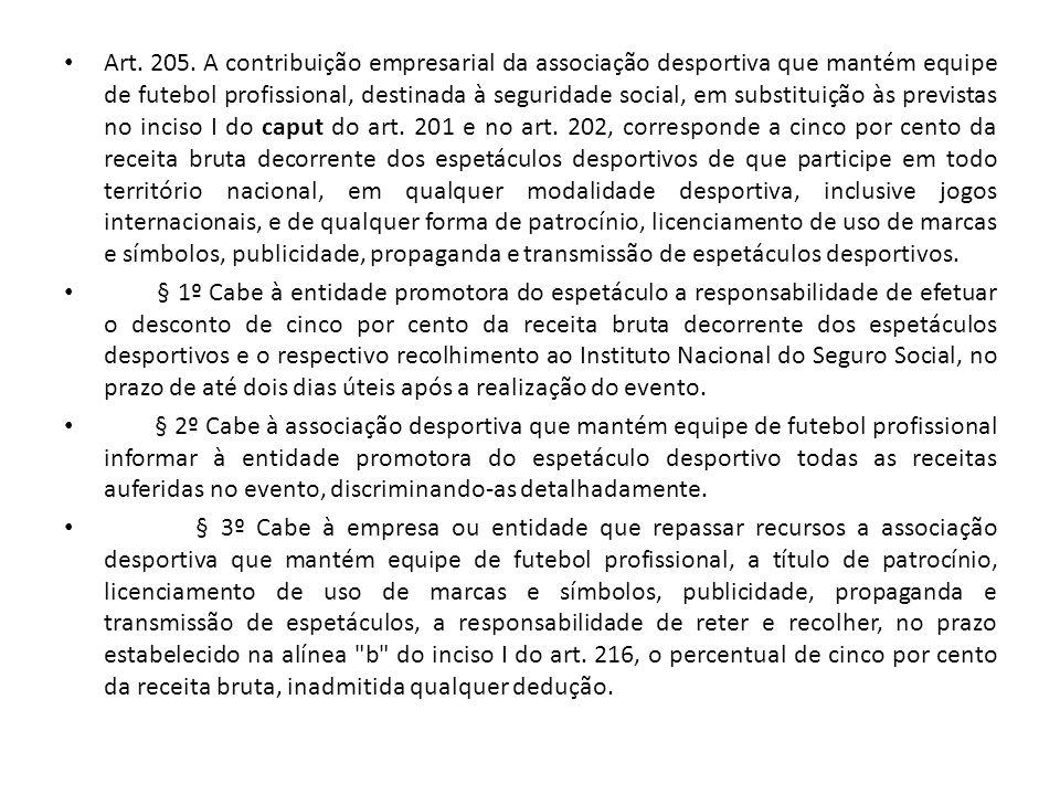 Art. 205. A contribuição empresarial da associação desportiva que mantém equipe de futebol profissional, destinada à seguridade social, em substituiçã