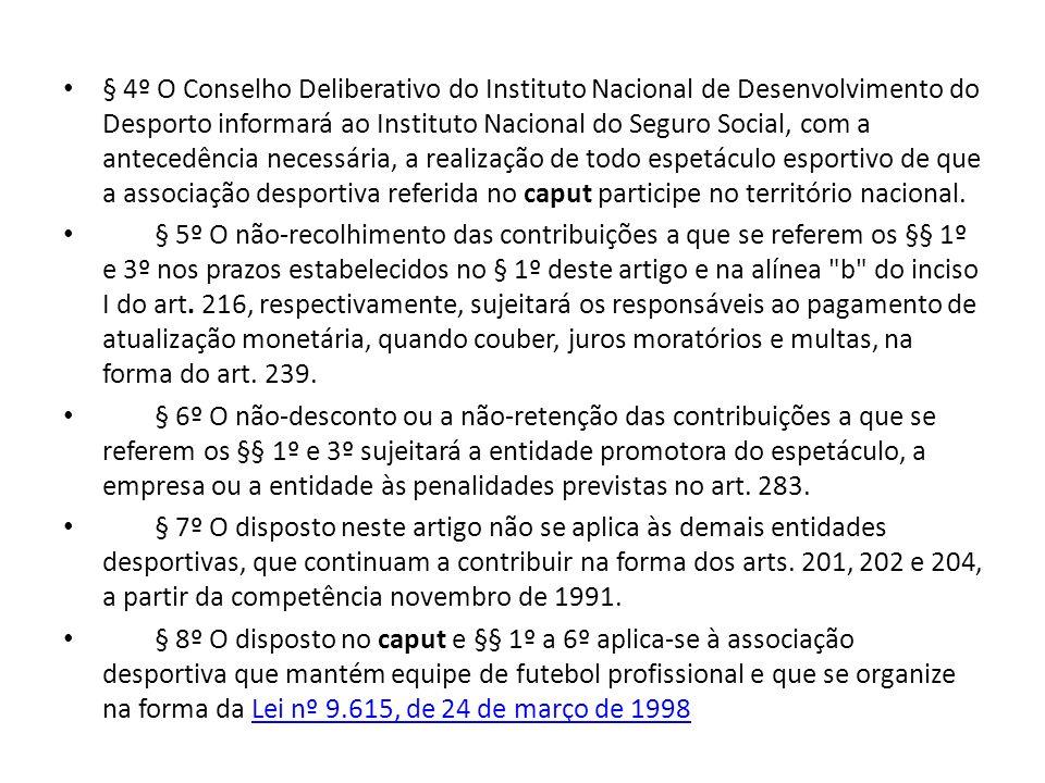 § 4º O Conselho Deliberativo do Instituto Nacional de Desenvolvimento do Desporto informará ao Instituto Nacional do Seguro Social, com a antecedência