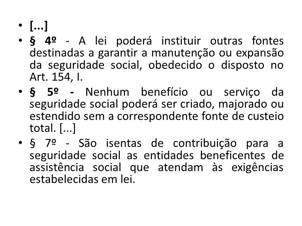 [...] § 4º - A lei poderá instituir outras fontes destinadas a garantir a manutenção ou expansão da seguridade social, obedecido o disposto no Art. 15