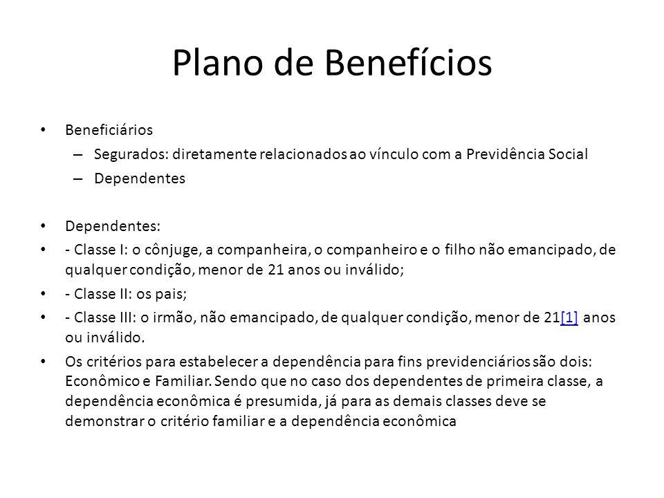 Plano de Benefícios Beneficiários – Segurados: diretamente relacionados ao vínculo com a Previdência Social – Dependentes Dependentes: - Classe I: o c