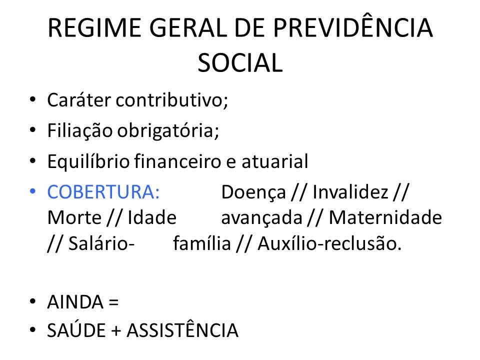 REGIME GERAL DE PREVIDÊNCIA SOCIAL Caráter contributivo; Filiação obrigatória; Equilíbrio financeiro e atuarial COBERTURA:Doença // Invalidez // Morte