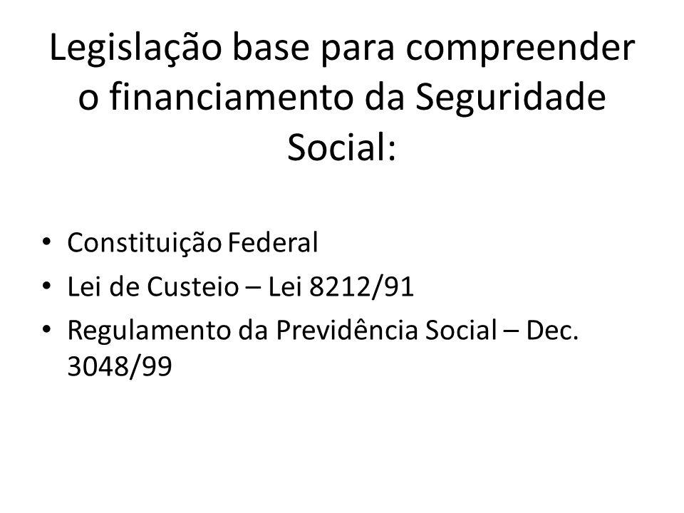 Legislação base para compreender o financiamento da Seguridade Social: Constituição Federal Lei de Custeio – Lei 8212/91 Regulamento da Previdência So