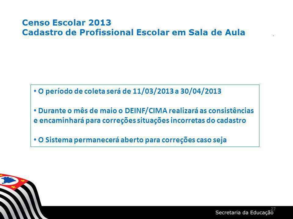 27 O período de coleta será de 11/03/2013 a 30/04/2013 Durante o mês de maio o DEINF/CIMA realizará as consistências e encaminhará para correções situ