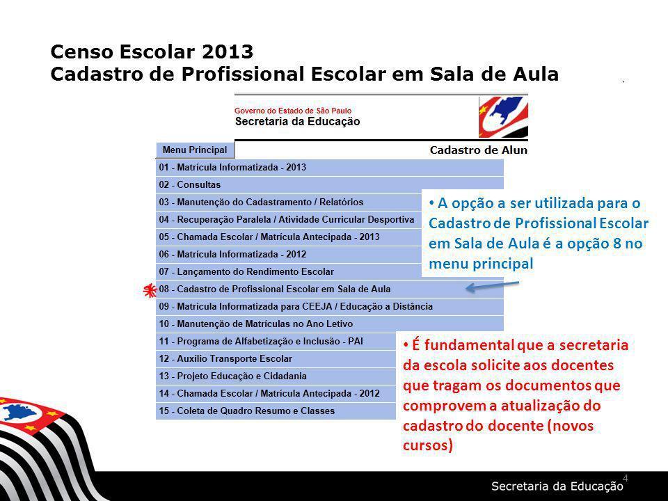 4 Censo Escolar 2013 Cadastro de Profissional Escolar em Sala de Aula A opção a ser utilizada para o Cadastro de Profissional Escolar em Sala de Aula