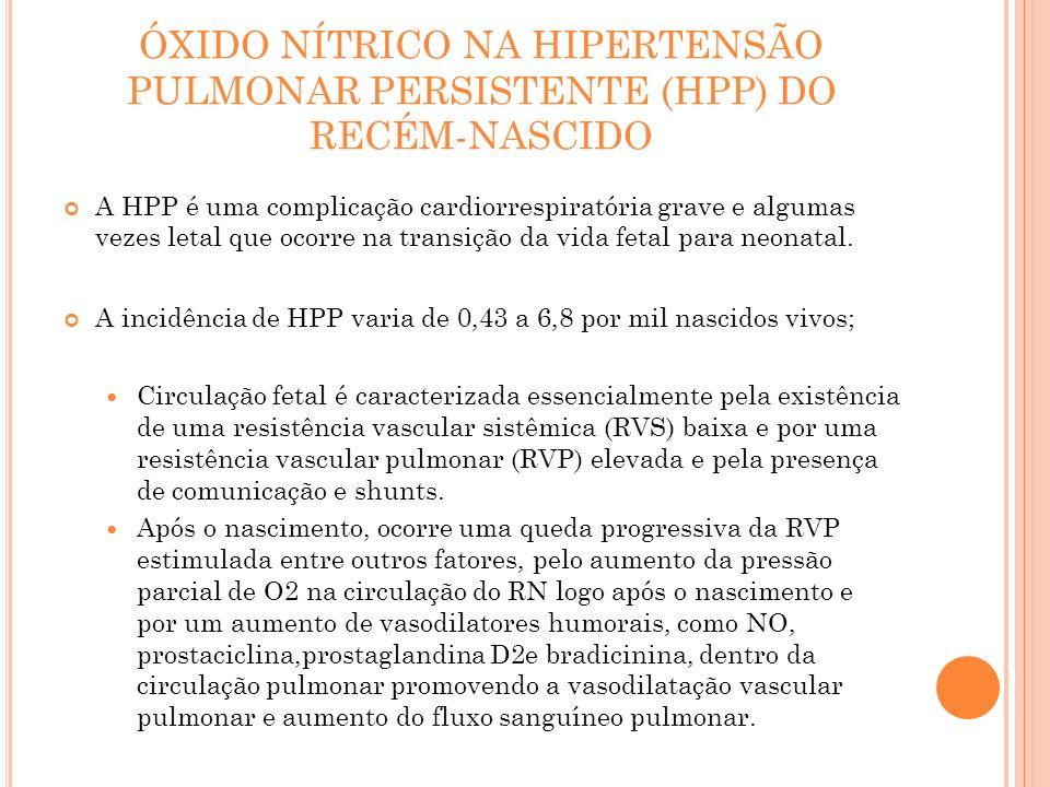 ÓXIDO NÍTRICO NA HIPERTENSÃO PULMONAR PERSISTENTE (HPP) DO RECÉM-NASCIDO A HPP é uma complicação cardiorrespiratória grave e algumas vezes letal que o