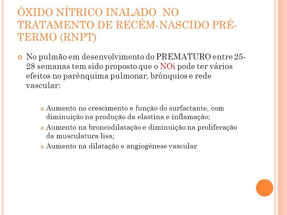 ÓXIDO NÍTRICO INALADO NO TRATAMENTO DE RECÉM-NASCIDO PRÉ- TERMO (RNPT) No pulmão em desenvolvimento do PREMATURO entre 25- 28 semanas tem sido propost