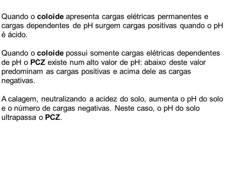 Quando o coloide apresenta cargas elétricas permanentes e cargas dependentes de pH surgem cargas positivas quando o pH é ácido. Quando o coloide possu