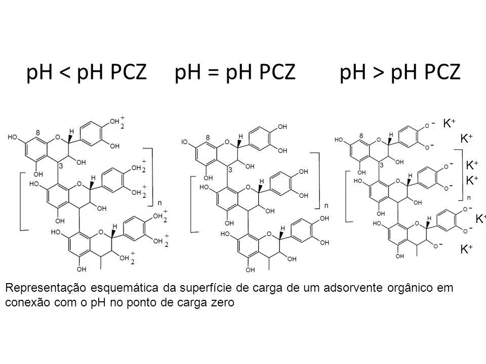 pH pH PCZ K+K+ K+K+ K+K+ K+K+ K+K+ K+K+ Representação esquemática da superfície de carga de um adsorvente orgânico em conexão com o pH no ponto de car