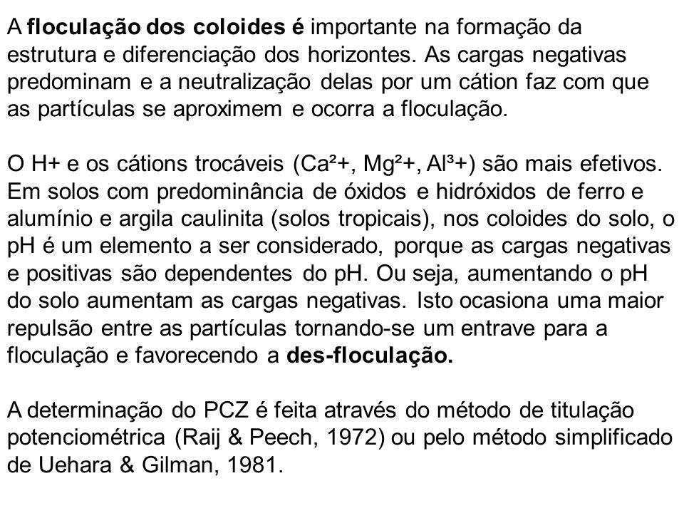 Determinação do ponto de carga zero (PCZ) Método Keng & Uehara (1974) O pH do biocarvão foi determinado de acordo com Carrier et al.