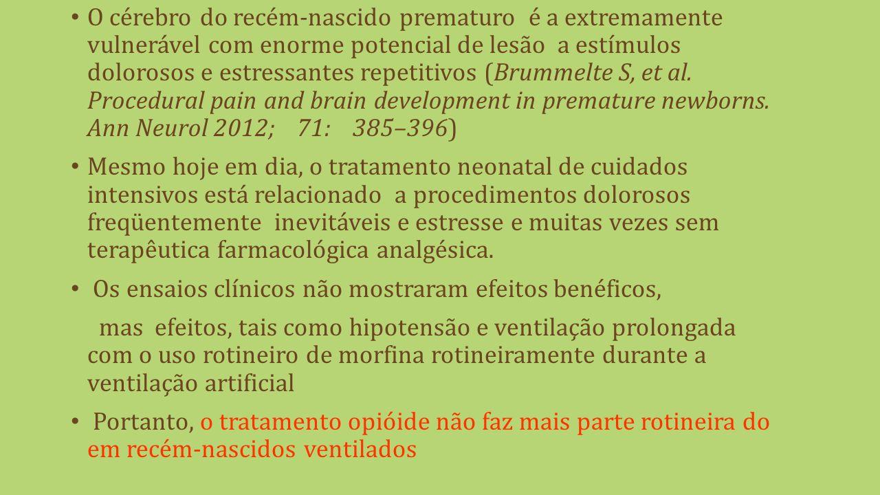 O cérebro do recém-nascido prematuro é a extremamente vulnerável com enorme potencial de lesão a estímulos dolorosos e estressantes repetitivos (Brummelte S, et al.