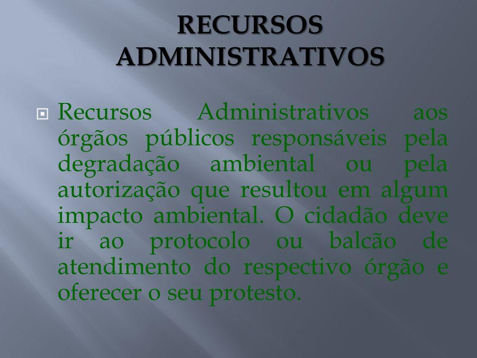 Recursos Administrativos aos órgãos públicos responsáveis pela degradação ambiental ou pela autorização que resultou em algum impacto ambiental. O cid