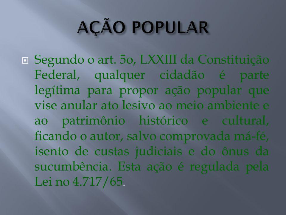 Segundo o art. 5o, LXXIII da Constituição Federal, qualquer cidadão é parte legítima para propor ação popular que vise anular ato lesivo ao meio ambie