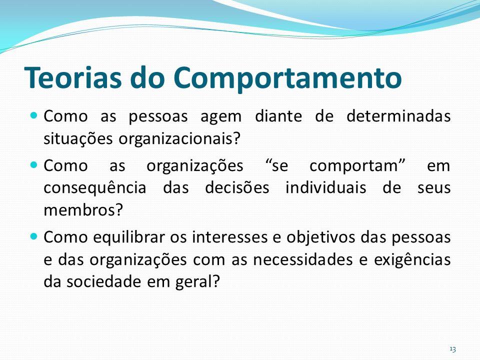 Teorias do Comportamento Como as pessoas agem diante de determinadas situações organizacionais.