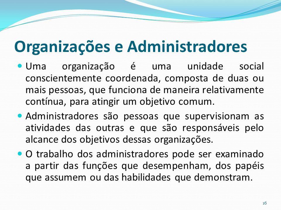 Organizações e Administradores Uma organização é uma unidade social conscientemente coordenada, composta de duas ou mais pessoas, que funciona de maneira relativamente contínua, para atingir um objetivo comum.