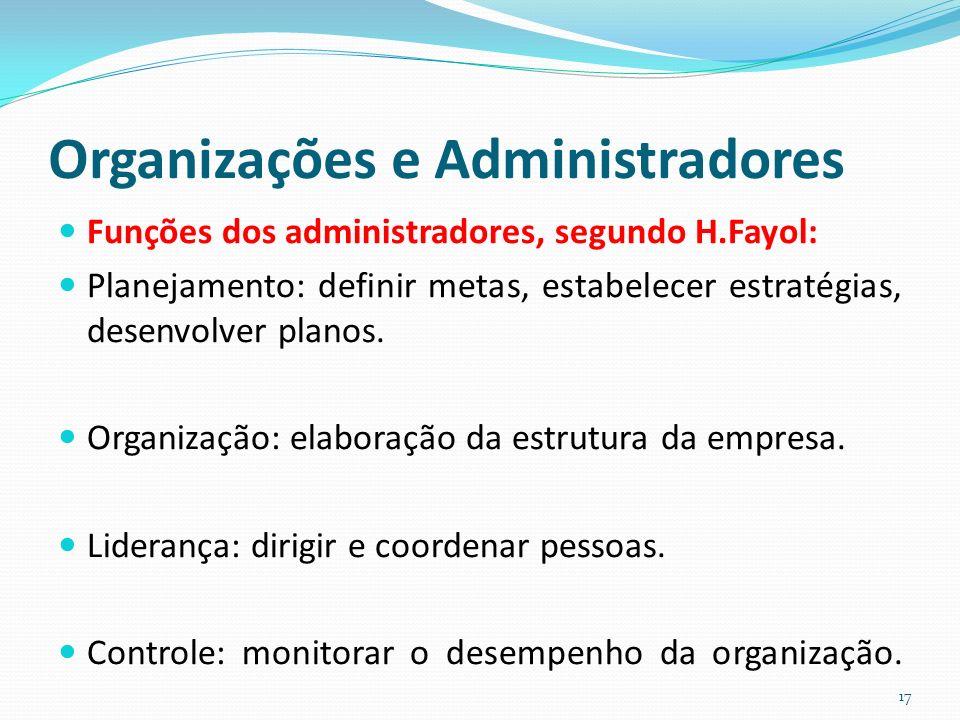 Organizações e Administradores Funções dos administradores, segundo H.Fayol: Planejamento: definir metas, estabelecer estratégias, desenvolver planos.