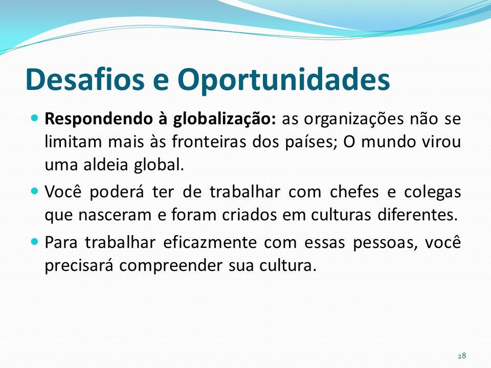 Desafios e Oportunidades Respondendo à globalização: as organizações não se limitam mais às fronteiras dos países; O mundo virou uma aldeia global.