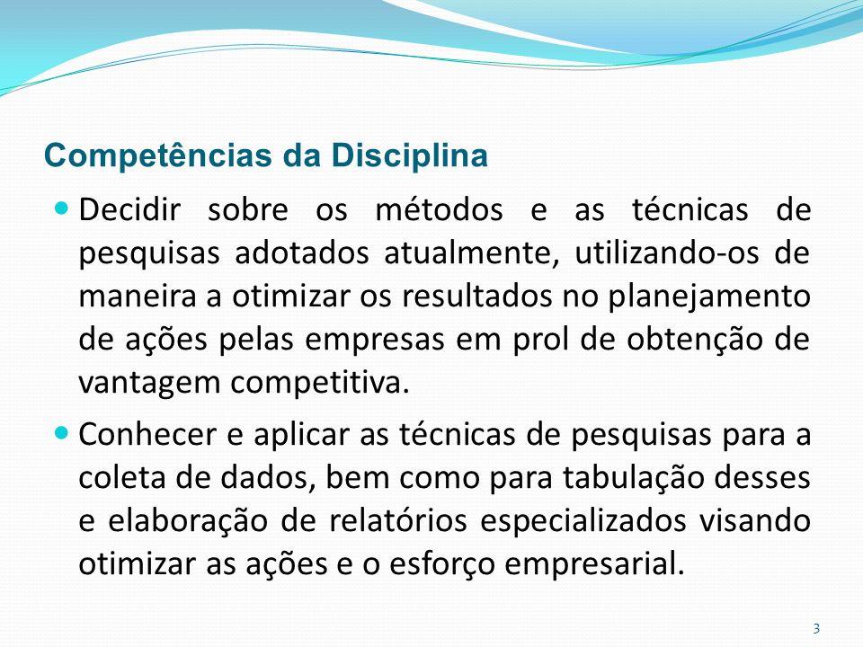 Competências da Disciplina Decidir sobre os métodos e as técnicas de pesquisas adotados atualmente, utilizando-os de maneira a otimizar os resultados no planejamento de ações pelas empresas em prol de obtenção de vantagem competitiva.