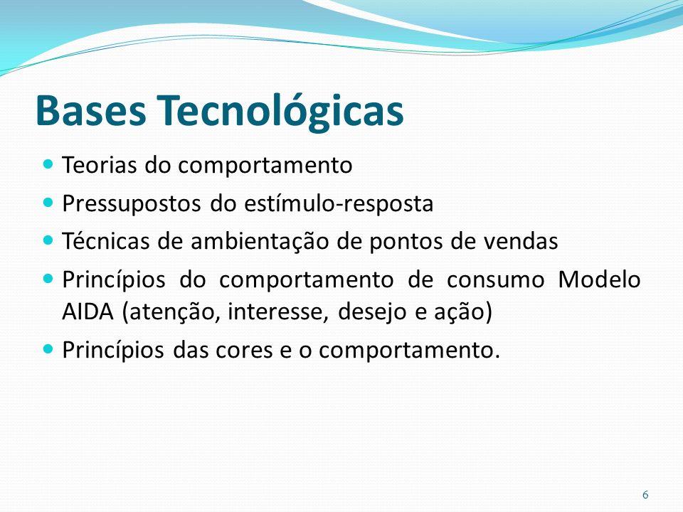 Bases Tecnológicas Teorias do comportamento Pressupostos do estímulo-resposta Técnicas de ambientação de pontos de vendas Princípios do comportamento de consumo Modelo AIDA (atenção, interesse, desejo e ação) Princípios das cores e o comportamento.