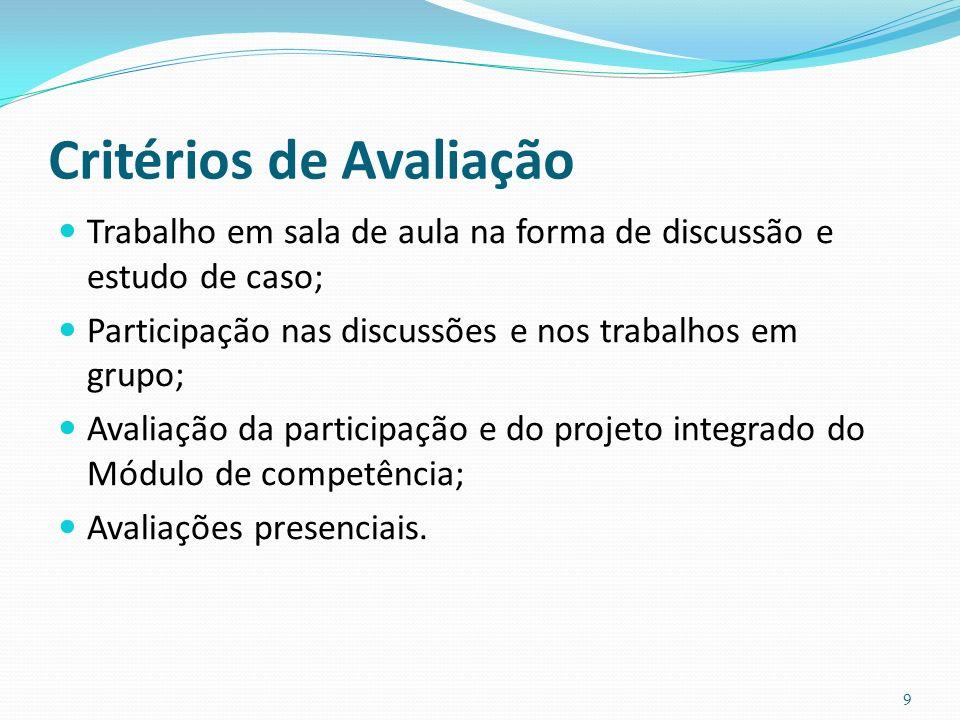 Critérios de Avaliação Trabalho em sala de aula na forma de discussão e estudo de caso; Participação nas discussões e nos trabalhos em grupo; Avaliação da participação e do projeto integrado do Módulo de competência; Avaliações presenciais.