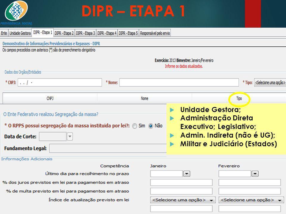 DIPR – ETAPA 1 Órgãos e entidades que possuem segurados do RPPS: Unidade Gestora; Administração Direta Executivo; Legislativo; Admin. Indireta (não é