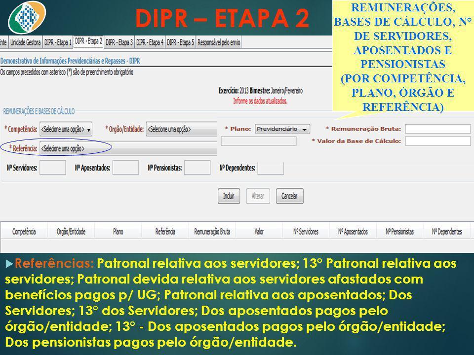 DIPR – ETAPA 2 Referências: Patronal relativa aos servidores; 13° Patronal relativa aos servidores; Patronal devida relativa aos servidores afastados