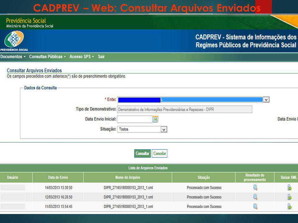 CADPREV – Web: Consultar Arquivos Enviados