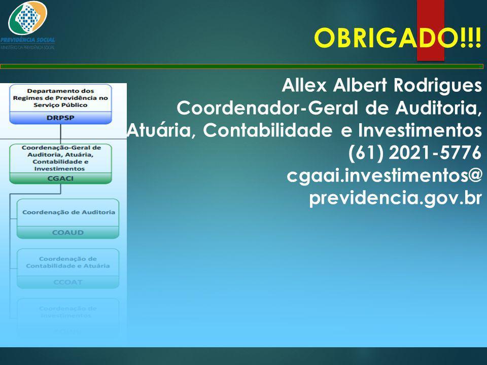 OBRIGADO!!! Allex Albert Rodrigues Coordenador-Geral de Auditoria, Atuária, Contabilidade e Investimentos (61) 2021-5776 cgaai.investimentos@ previden