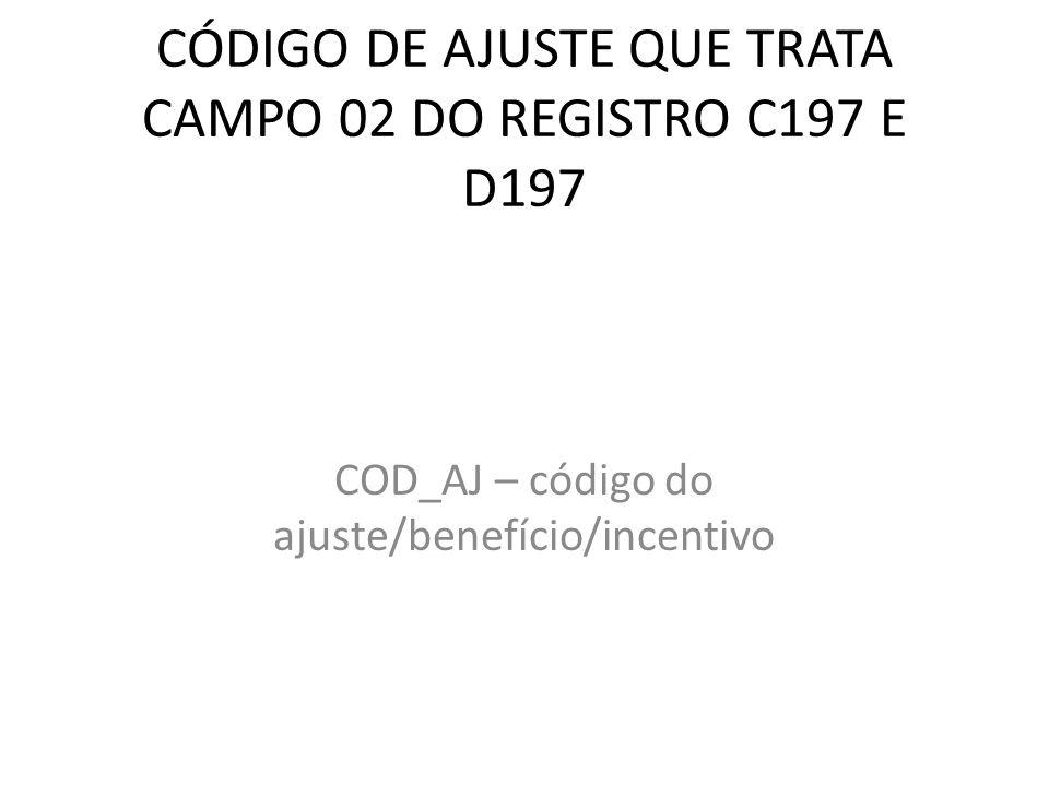 CÓDIGO DE AJUSTE QUE TRATA CAMPO 02 DO REGISTRO C197 E D197 COD_AJ – código do ajuste/benefício/incentivo