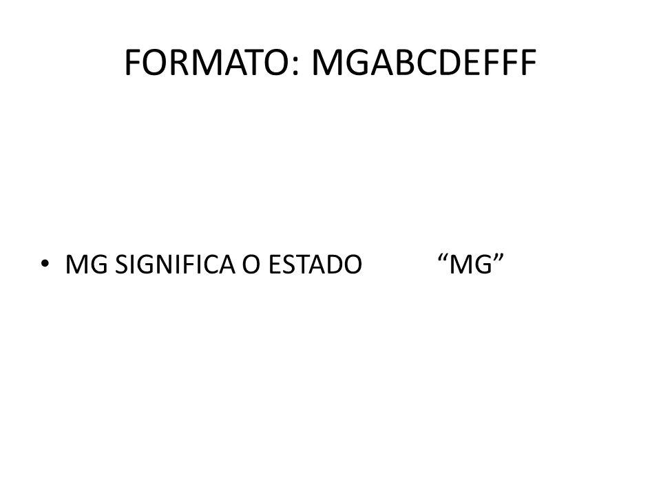 FORMATO: MGABCDEFFF MG SIGNIFICA O ESTADOMG