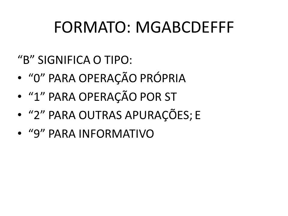 FORMATO: MGABCDEFFF B SIGNIFICA O TIPO: 0 PARA OPERAÇÃO PRÓPRIA 1 PARA OPERAÇÃO POR ST 2 PARA OUTRAS APURAÇÕES; E 9 PARA INFORMATIVO