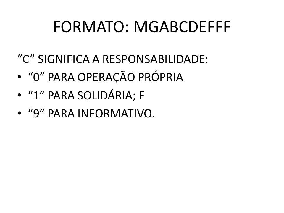 FORMATO: MGABCDEFFF C SIGNIFICA A RESPONSABILIDADE: 0 PARA OPERAÇÃO PRÓPRIA 1 PARA SOLIDÁRIA; E 9 PARA INFORMATIVO.