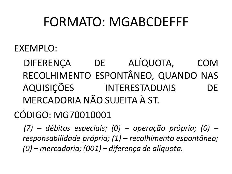 FORMATO: MGABCDEFFF EXEMPLO: DIFERENÇA DE ALÍQUOTA, COM RECOLHIMENTO ESPONTÂNEO, QUANDO NAS AQUISIÇÕES INTERESTADUAIS DE MERCADORIA NÃO SUJEITA À ST.