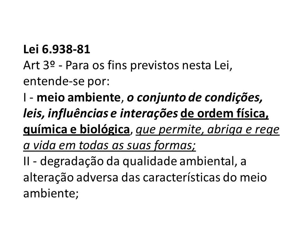 Lei 6.938-81 Art 3º - Para os fins previstos nesta Lei, entende-se por: I - meio ambiente, o conjunto de condições, leis, influências e interações de