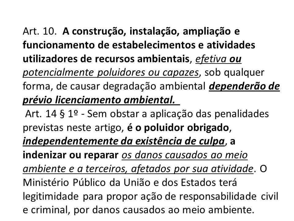 Art. 10. A construção, instalação, ampliação e funcionamento de estabelecimentos e atividades utilizadores de recursos ambientais, efetiva ou potencia