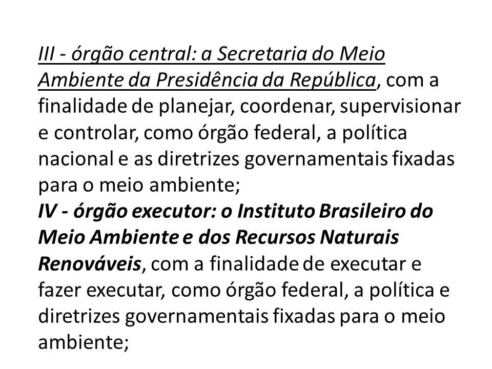 III - órgão central: a Secretaria do Meio Ambiente da Presidência da República, com a finalidade de planejar, coordenar, supervisionar e controlar, co