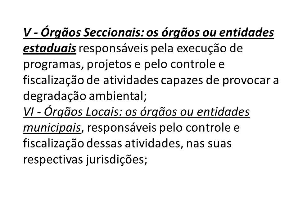 V - Órgãos Seccionais: os órgãos ou entidades estaduais responsáveis pela execução de programas, projetos e pelo controle e fiscalização de atividades