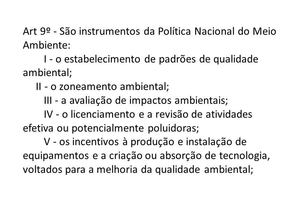 Art 9º - São instrumentos da Política Nacional do Meio Ambiente: I - o estabelecimento de padrões de qualidade ambiental; II - o zoneamento ambiental;