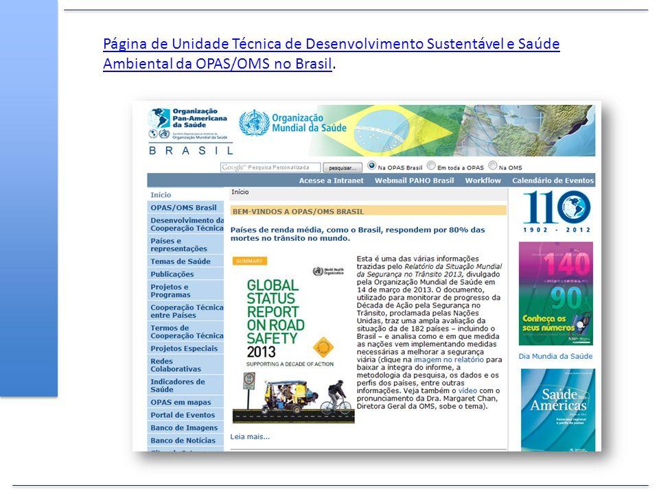 Página de Unidade Técnica de Desenvolvimento Sustentável e Saúde Ambiental da OPAS/OMS no BrasilPágina de Unidade Técnica de Desenvolvimento Sustentáv