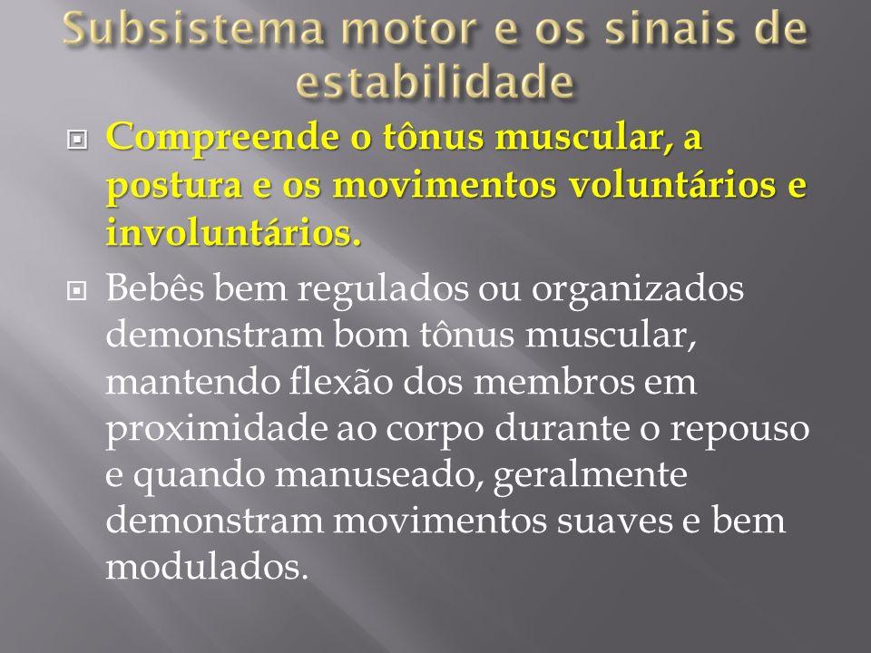 Compreende o tônus muscular, a postura e os movimentos voluntários e involuntários. Compreende o tônus muscular, a postura e os movimentos voluntários