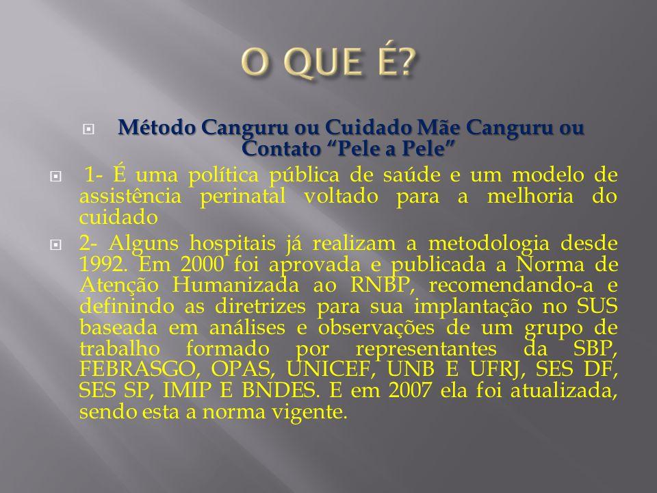 Método Canguru ou Cuidado Mãe Canguru ou Contato Pele a Pele 1- É uma política pública de saúde e um modelo de assistência perinatal voltado para a me