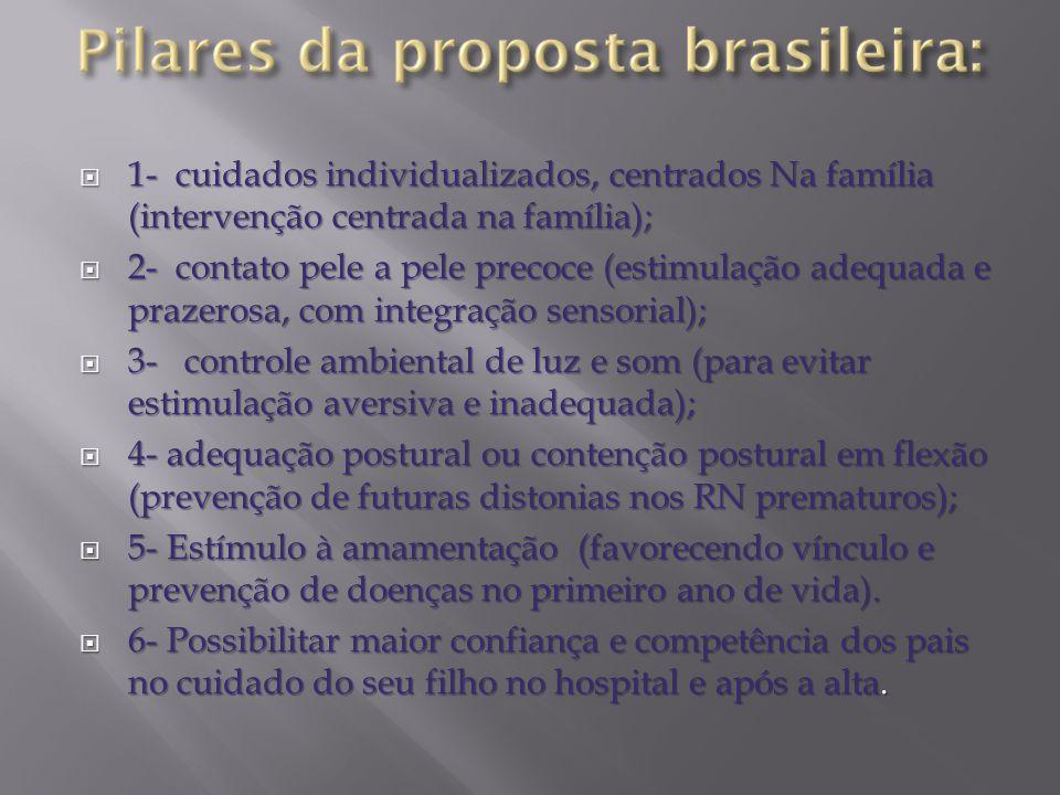 1- cuidados individualizados, centrados Na família (intervenção centrada na família); 1- cuidados individualizados, centrados Na família (intervenção
