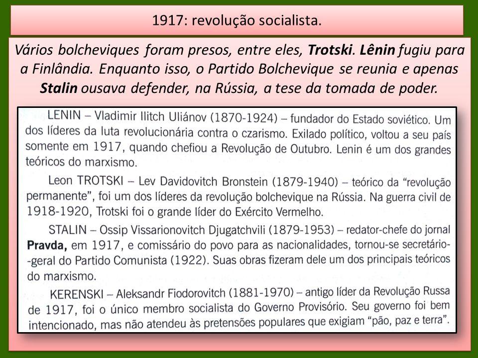 Vários bolcheviques foram presos, entre eles, Trotski. Lênin fugiu para a Finlândia. Enquanto isso, o Partido Bolchevique se reunia e apenas Stalin ou