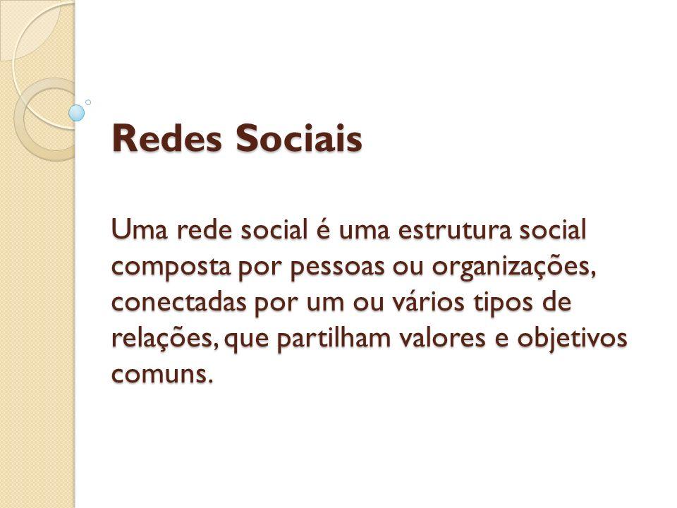 Redes Sociais Uma rede social é uma estrutura social composta por pessoas ou organizações, conectadas por um ou vários tipos de relações, que partilha