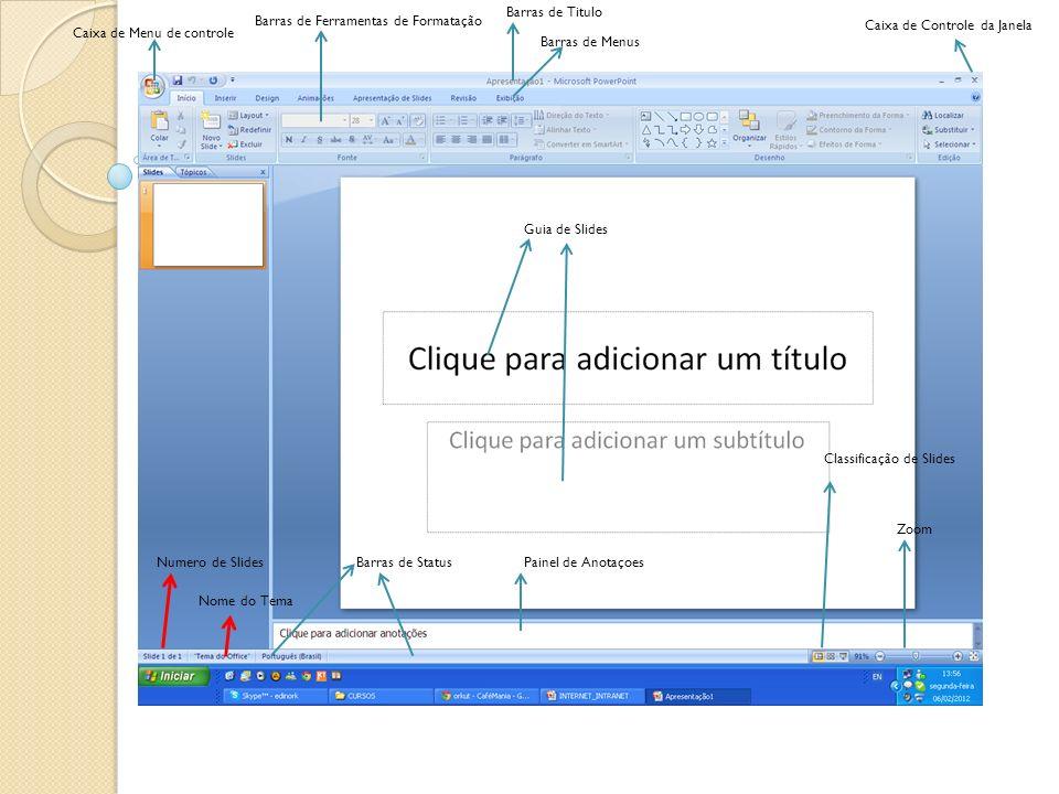 Caixa de Menu de controle Barras de Titulo Barras de Menus Caixa de Controle da Janela Barras de Ferramentas de Formatação Guia de Slides Barras de St