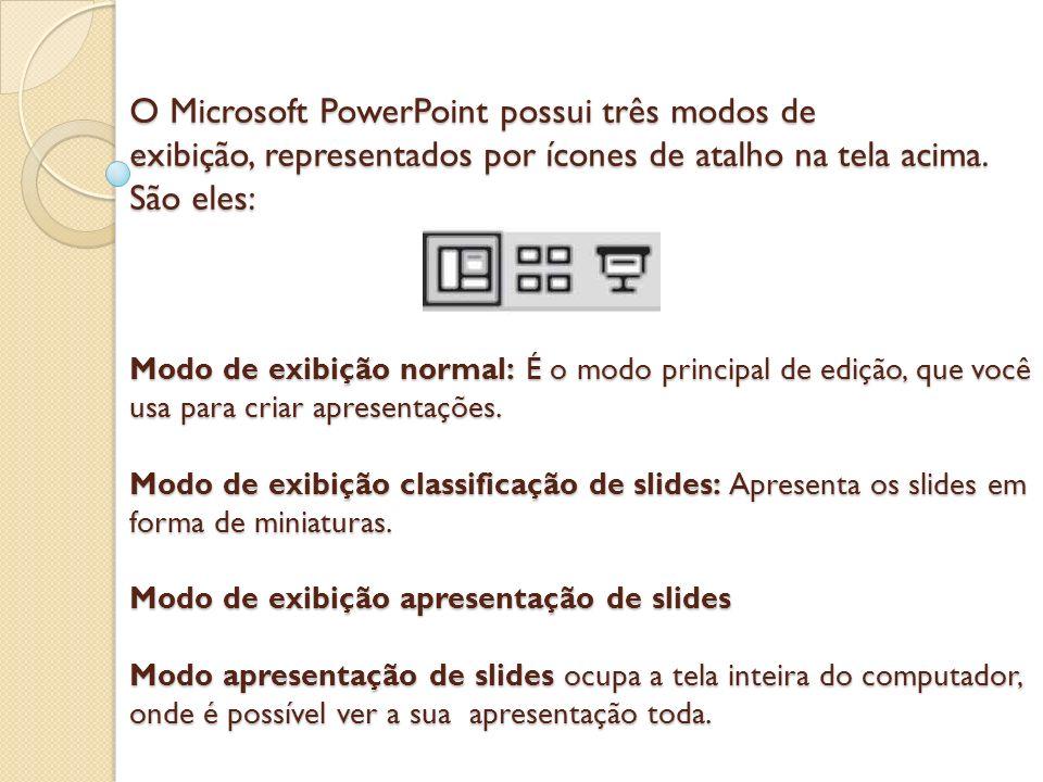 O Microsoft PowerPoint possui três modos de exibição, representados por ícones de atalho na tela acima. São eles: Modo de exibição normal: É o modo pr