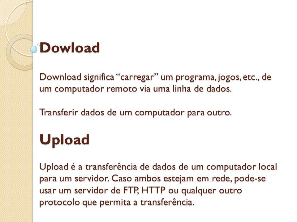 Dowload Download significa carregar um programa, jogos, etc., de um computador remoto via uma linha de dados. Transferir dados de um computador para o