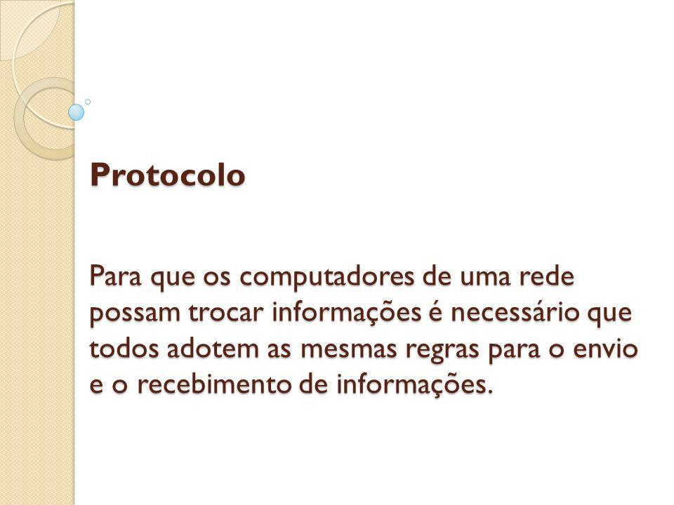 Protocolo Para que os computadores de uma rede possam trocar informações é necessário que todos adotem as mesmas regras para o envio e o recebimento d